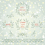 Christmas collection hand drawn branches set Royalty Free Stock Image