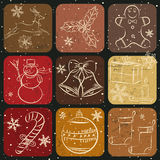 Christmas Collection of hand drawn decoration bann Stock Photography