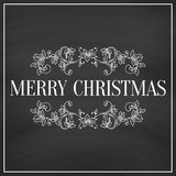 Christmas collection. Icons with mandala ornament on Chalkboard background. Royalty Free Stock Images
