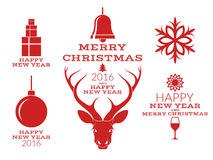 Christmas collection.  labels and icons on white background Stock Photos