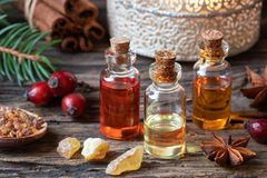 Free Christmas Collection Of Essential Oils With Frankincense, Myrrh Stock Photography - 132959242