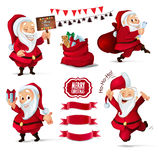 Christmas Collection of Santa Claus characters, ribbon banners for your design project Royalty Free Stock Image