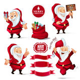 Christmas Collection of Santa Claus characters, ribbon banners for your design project Stock Photo
