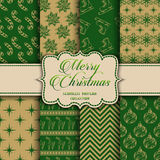 Christmas Collection of seamless patterns with green and golden colors Royalty Free Stock Photo