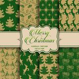 Christmas Collection of seamless patterns with green and golden colors Stock Image