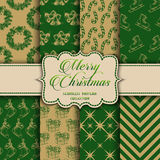Christmas Collection of seamless patterns with green and golden colors. Vector illustration for your design Royalty Free Stock Images