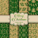 Christmas Collection of seamless patterns with green and golden colors. Vector illustration for your design Royalty Free Stock Image