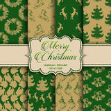 Christmas Collection of seamless patterns with green and golden colors Royalty Free Stock Photos