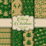 Christmas Collection of seamless patterns with green and golden colors Stock Images