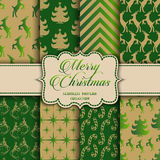 Christmas Collection of seamless patterns with green and golden colors Stock Photo