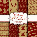 Christmas Collection of seamless patterns with red and golden colors Royalty Free Stock Photos