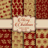 Christmas Collection of seamless patterns with red and golden colors. Vector illustration for your design Stock Photo