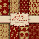 Christmas Collection of seamless patterns with red and golden colors Royalty Free Stock Photography
