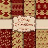 Christmas Collection of seamless patterns with red and golden colors Stock Photo