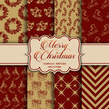 Christmas Collection of seamless patterns with red and golden colors Stock Image