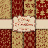 Christmas Collection of seamless patterns with red and golden colors. Vector illustration for your design Royalty Free Stock Images
