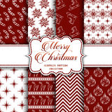 Christmas Collection of seamless patterns with red and white colors. Vector illustration for your design Stock Image