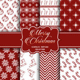 Christmas Collection of seamless patterns with red and white colors. Vector illustration for your design royalty free illustration