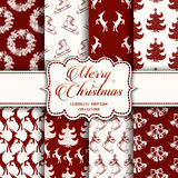 Christmas Collection of seamless patterns with red and white colors. Vector illustration for your design Royalty Free Stock Photography