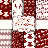 Christmas Collection of seamless patterns with red and white colors. Vector illustration for your design vector illustration