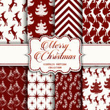 Christmas Collection of seamless patterns with red and white colors. Vector illustration for your design Stock Photo