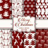 Christmas Collection of seamless patterns with red and white colors. Vector illustration for your design Stock Photos