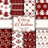 Christmas Collection of seamless patterns with red and white colors. Vector illustration for your design stock illustration