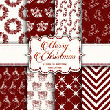 Christmas Collection of seamless patterns with red and white colors. Vector illustration for your design Stock Photography
