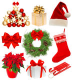 Christmas collection Set stocking gifts wreath decoration Royalty Free Stock Photography