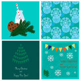 Christmas collection with snowflakes seamless pattern and three holiday cards Royalty Free Stock Image