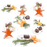 Christmas collection. With star-bottle stock photos