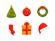 Christmas Collection. Collection of Christmas stuff, pixel art style icons Royalty Free Illustration
