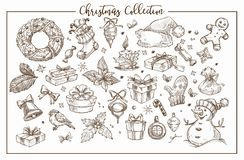 Christmas collection of symbolic traditional elements monochrome sketch outline vector. Rnate wreaths with candle, little bird and Santas hat, sweet candies royalty free illustration
