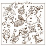 Christmas collection of symbolic traditional elements monochrome sketch outline vector. Snowman with carrot nose, mistletoe plant leaf, snowflakes and watch stock illustration