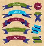 Christmas collection variation labels and ribbons Royalty Free Stock Photography