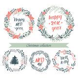 Christmas collection wreaths. Christmas hand drawn wreath. Vector xmas collection. Decoration element for cards and invitations Royalty Free Stock Photography