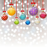 Christmas color balls on bokeh background Stock Images
