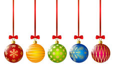 Christmas color balls with red ribbons Royalty Free Stock Image