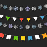 Christmas color garland collection Stock Image