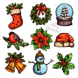 Christmas Color Sketch Collection Of Attributes Royalty Free Stock Photos