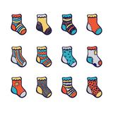 Christmas color socks set Stock Images