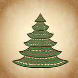 Christmas color tree on grunge background sketch 8 Royalty Free Stock Image