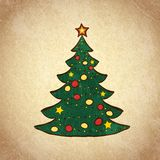 Christmas color tree on grunge background sketch 1 Royalty Free Stock Image
