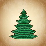 Christmas color tree on grunge background sketch 6 Stock Photos