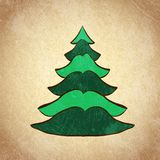 Christmas color tree on grunge background sketch 5 Royalty Free Stock Images