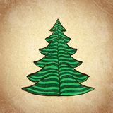 Christmas color tree on grunge background sketch 4 Stock Photos