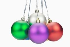 Christmas colored balls. Against white background Stock Image