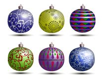 Christmas colored balls. Beautiful multi-colored christmas balls on a white background Royalty Free Stock Photo