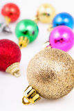 Christmas colored balls isolated on white background Royalty Free Stock Photo