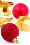 Christmas colored balls  on white background Stock Image